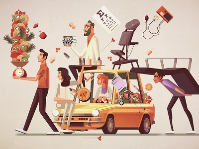 Women Health editorial character editorial backgrounds vector digital illustration james gilleard