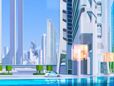 BMW next 100 years bow illustrator digital vector glitch city illustration james gilleard