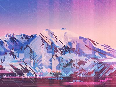 Mountain illustrator digital vector glitch mountain illustration james gilleard