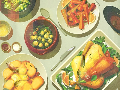 Christmas Dinner illustrator digital vector glitch dinner christmas food illustration james gilleard