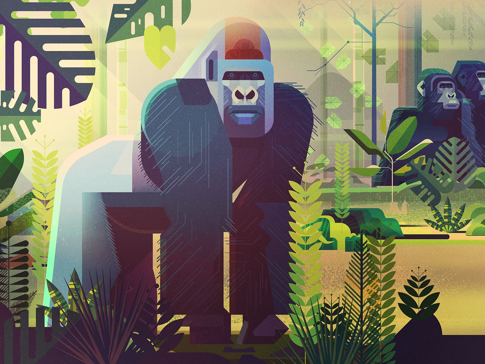 Saving Species spread book endangered species animals retro digital vector james gilleard