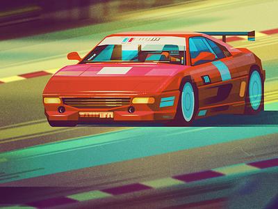 Car car illustrator retro geometric digital illustration vector james gilleard