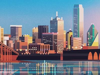 Dallas backgrounds architecture landscape illustrator vintage retro glitch geometric digital illustration vector james gilleard