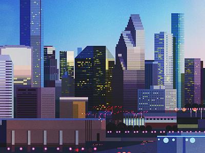 Houston architecture landscape illustrator vintage retro glitch geometric digital illustration vector james gilleard
