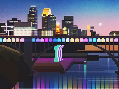 Minneapolis backgrounds landscape illustrator vintage retro glitch geometric digital illustration vector james gilleard