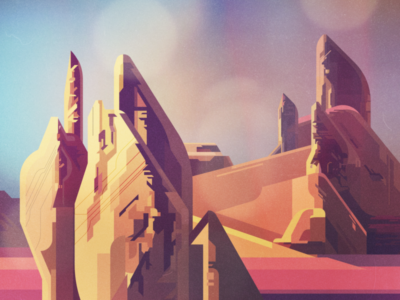 Landscape concept art scifi backgrounds landscape illustrator vintage retro glitch geometric digital illustration vector james gilleard