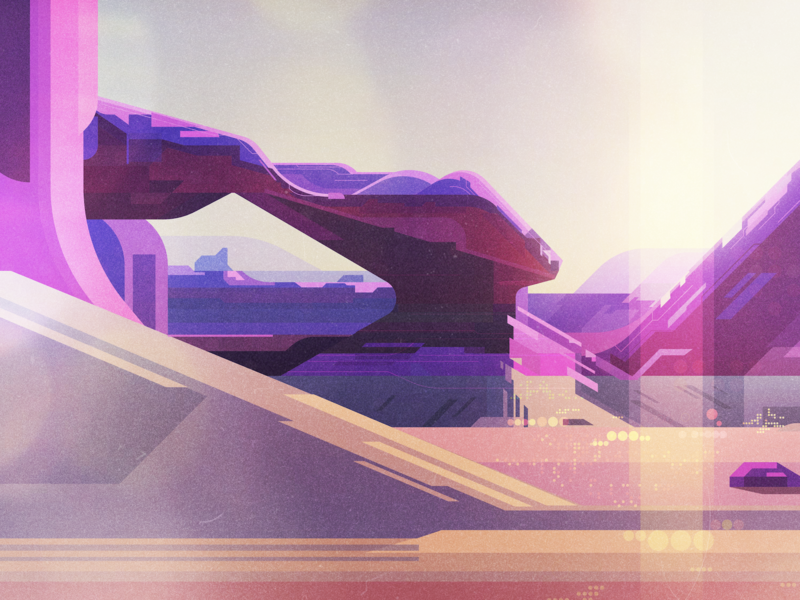 Landscape 2 concept art scifi backgrounds landscape illustrator vintage retro glitch geometric digital illustration vector james gilleard