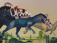Dinosaurs 2 dinosaurs illustrator vintage retro geometric digital illustration vector james gilleard