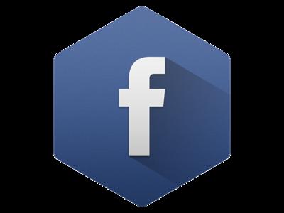 Hexagon Facebook with Long Shadow facebook hexagon long-shadow shadow icon