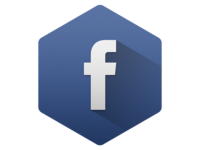 Hexagon Facebook with Long Shadow