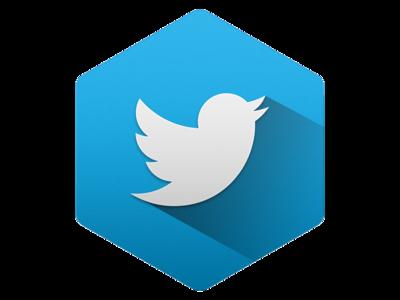 Hexagon Twitter with Long Shadow hexagon long-shadow twitter icon shadow
