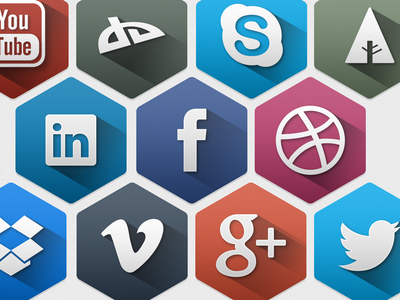 Hexagon Social Icons hexagon long-shadow twitter facebook icon shadow free