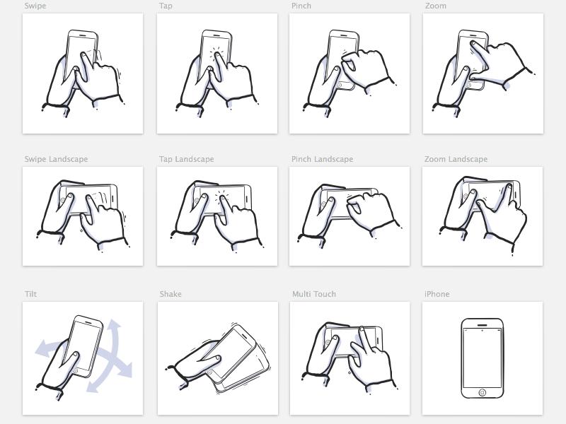 iPhone Gestures Sketch 3 Symbols icons ui sketch sketch3 symbols drawing