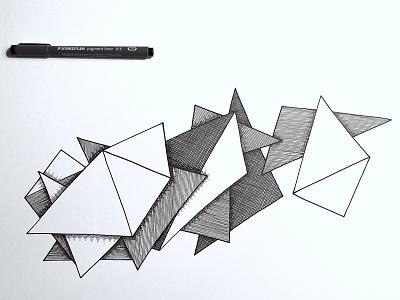 Doodle progress line pen illustration
