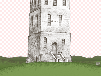 Slottsfjell hills parallax sketch hill castle tower green illustration