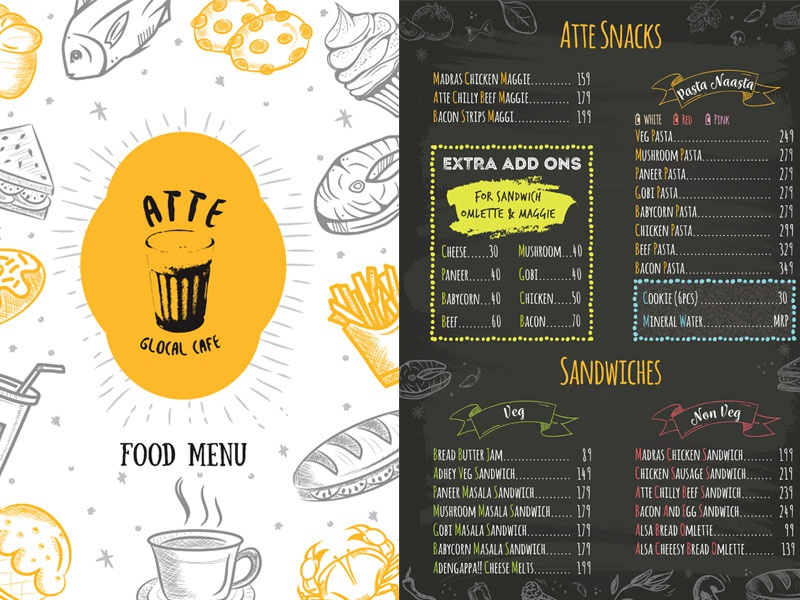 atte cafe menu card design by athul athreya