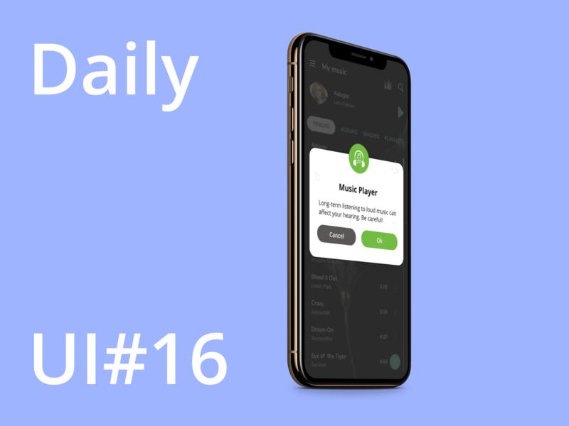 Daily UI/ Pop-Up / Overlay - #016 music black overlay popup mobile ui design web