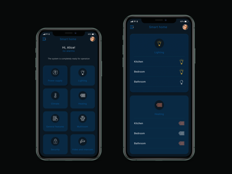 Daily UI / Home Monitoring Dashboard  - #021 multiroom security climate heading light bathroom bedroom system monitoring home dashboad black mobile ui design web