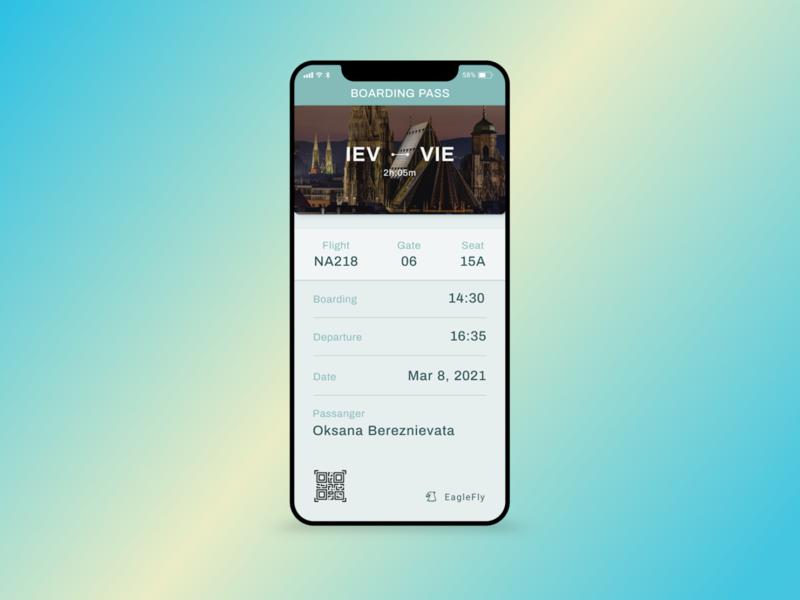 Daily UI/ Boarding pass - # 024 time eagle barcode app design boarding date passenger green fly boardingpass app mobile ui design web