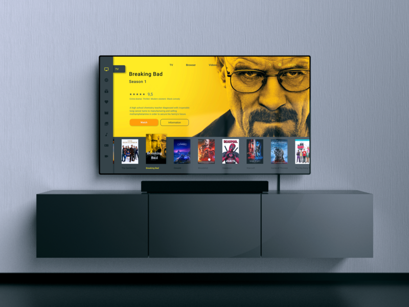 Daily UI/ TV App  - #025 tv show movies grey information watch smart tv breaking bad yellow app design smart ui web tv app tv