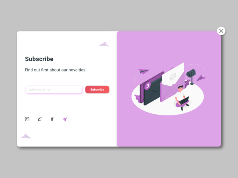 Daily UI/Subscribe - #026 cancel landing black red violet twitter facebook instagram letter email subscribe site ui design web