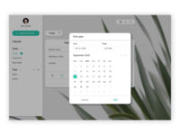 Calendar - #038 shedule time day year notification email number cancel add month everyday today task calendar white figma ui design web
