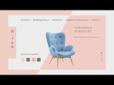 Furniture armchair furniture landing website ux branding web design