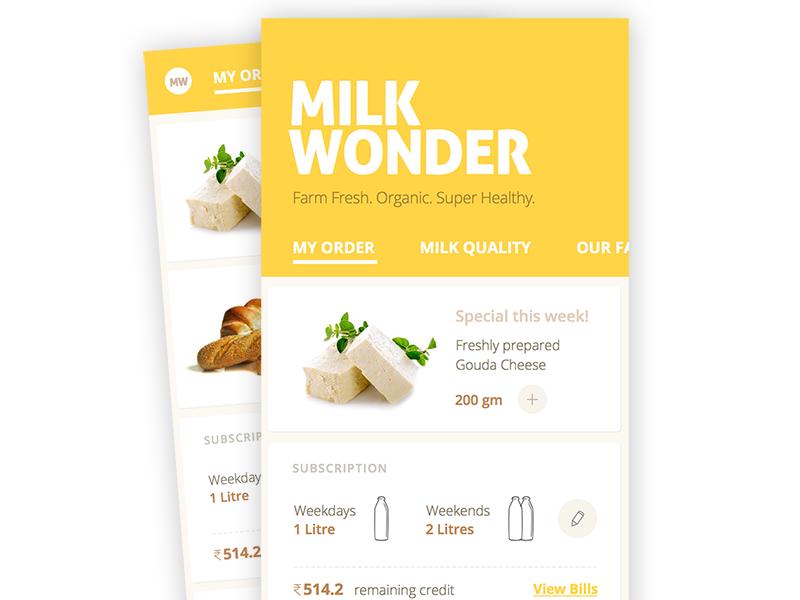 Milk Wonder organic delivery ui app milk