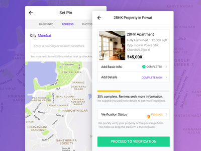 Add Property Flow address property upload map ui app mobile housing