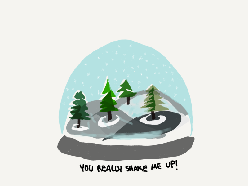 Last Minute DIY Holiday Card pun snowglobe trees holiday drawing paper 53 illustration