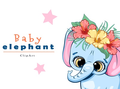 Baby elephant. Clip art