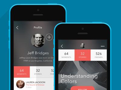 Profile screen for storytelling social app Storia