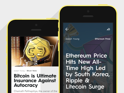 Feed and Article screens for CoinTelegraph App