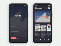 Sign Up and Discover screens for Archo App