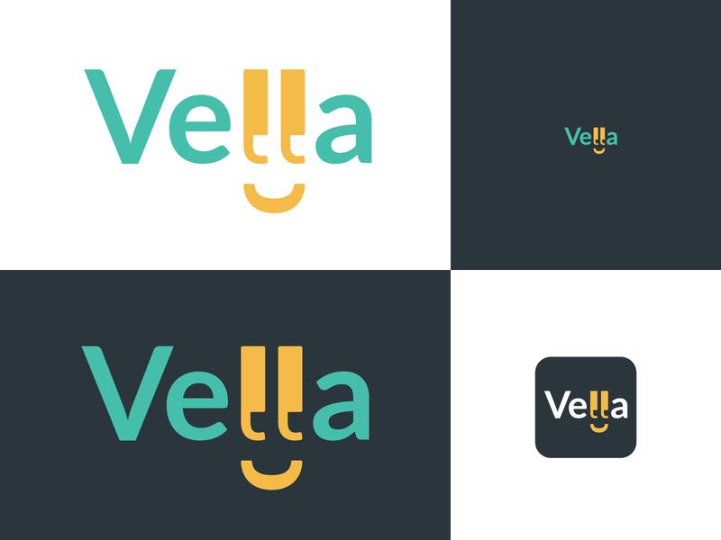 Vella language learning words lettermark app design application brand identity word wordmark type mark logo design icon brand app logo branding