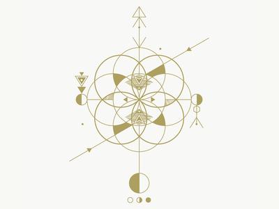 Sombra de sol II geometry triangle moon textures gold