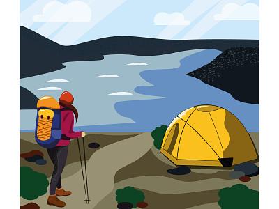 Time to travel nature girl tent trekking vector illustration design