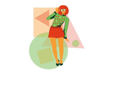 Geometry vector girl illustration design
