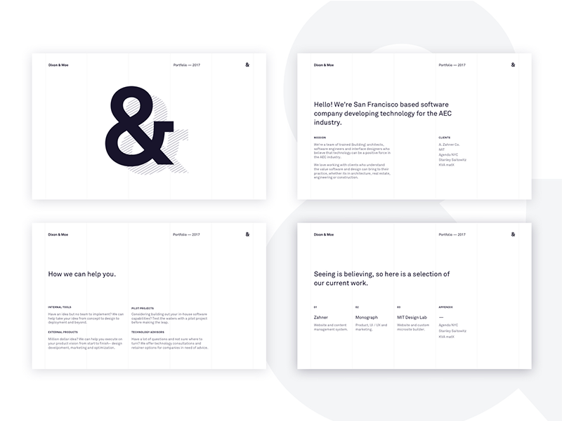 Dixon & Moe PDF Portfolio by Alex Dixon on Dribbble