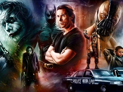 Batman Movie Poster fanart illustration superhero painting movie poster batman