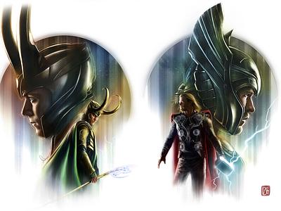 Thor x Loki digital artist digital illustration digital painting adobe photoshop digital art painting fanart superhero movie poster illustration