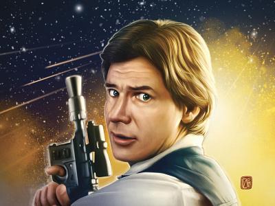 Han Solo starwars han solo digital artist digital painting digital illustration digital art adobe photoshop fanart illustration superhero painting movie poster