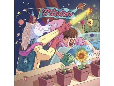 Mission - EP's Cover ellien games outerspace cover design oc may digital painting digital illustration digital artist digital art adobe photoshop painting illustration