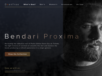 BendariProxima landing pages fashion app design landing page concept desktop design ui