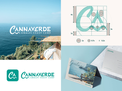 Cannaverde - Logo Design camp amalfi coast lemons mark seawaves tent visual identity grid logo logodesign design construction logo camping branding process brand identity animation