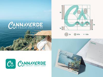 Cannaverde - Logo Design camp amalfi coast lemons mark seawaves tent visual identity grid logo logodesign design construction logo camping branding process brand identity animation