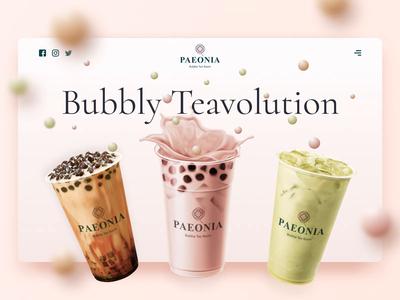 Paeonia Bubble Tea Room - Web Design cafe mockup drink pastel color pinky pink website design web glass loop tea bubble ux ui web design webdesign colorful landing page animation