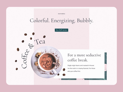 Tea Room - Page Scroll Animation carousel menu bar bubble tea scroll animation cake webflow coffee food and drink interactiondesign scrolling color palette colorful mockup loop animation web design website design webdesign