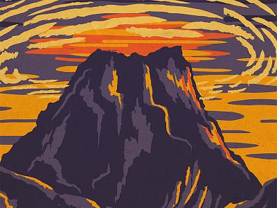 Zelda WPA Poster - Death Mountain ocarina of time zelda wpa parks digital retro vintage illustration