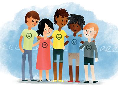 Building Empathy emotions education children kids watercolor digital illustration